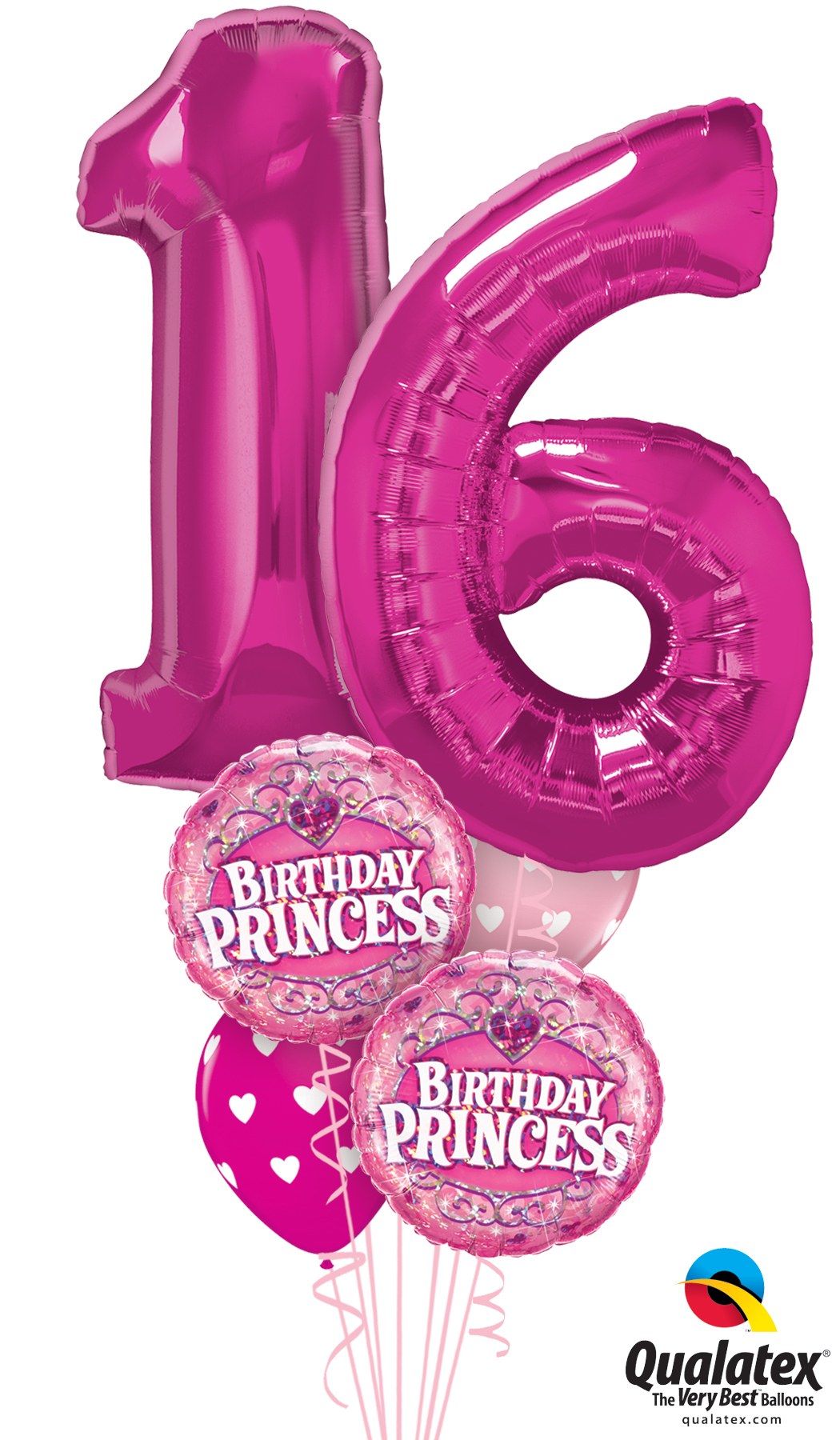 16th Birthday Princess Balloon Bouquet Helium Filled Foil Balloon