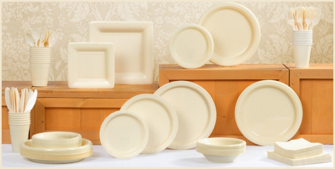 cream tableware