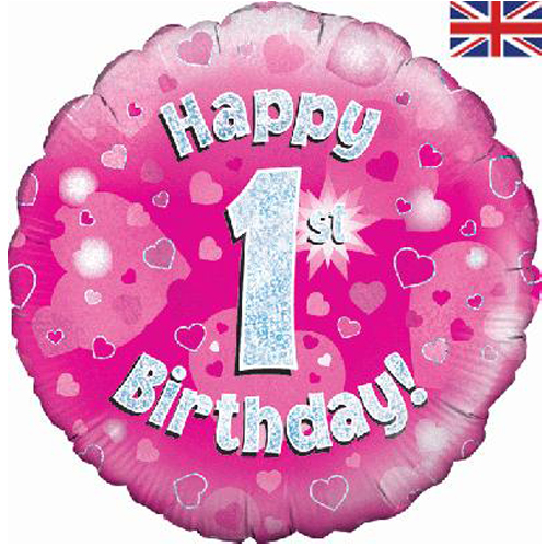 18 inch Happy 1st birthday pink foil balloon