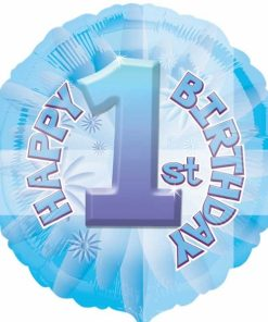 helium filled 1st birthday blue Foil Balloon