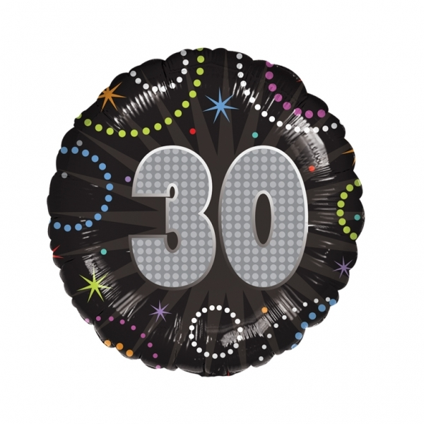 "Time to Party 30th Birthday 18"" Helium Filled Foil Balloon"