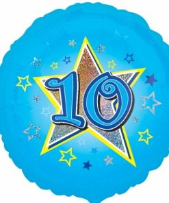 "Blue stars 10th Birthday 18"" Helium Filled Foil Balloon"