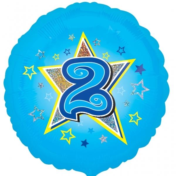"Blue stars 2nd birthday 18"" Helium Filled Foil Balloon"