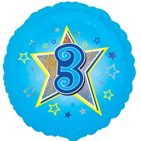 "Blue stars 3rd Birthday 18"" Helium Filled Foil Balloon"
