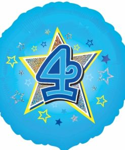 "Blue stars 4th Birthday 18"" Helium Filled Foil Balloon"
