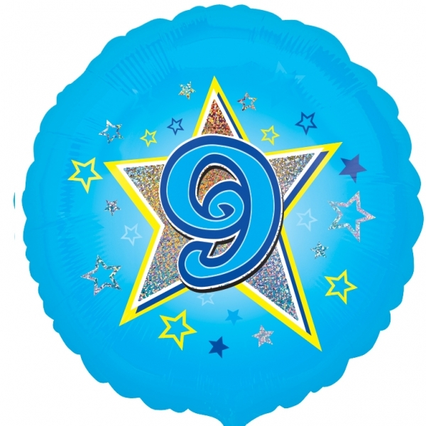 "Blue stars 9th Birthday 18"" Helium Filled Foil Balloon"