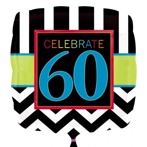 "Chevron Birthday 60th Birthday 18"" Helium Filled Foil Balloon"