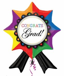 Congrats Grad Ribbon Supershape Helium Filled Foil Balloon