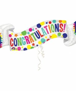 Congratulations Banner Supershape Helium Filled Foil Balloon