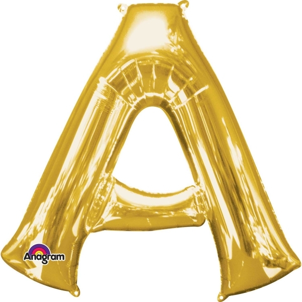 """Gold Supershape Letter A 34"""" Helium Filled foil Balloon"""