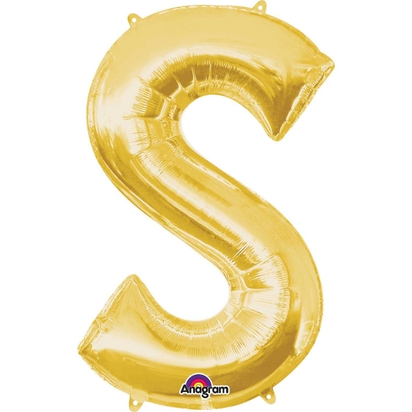 """Gold Supershape Letter S 34"""" Helium Filled foil Balloon"""