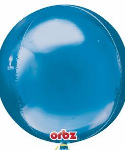 """3 Plain Blue Orbz 16"""" Helium Filled Foil Balloonss"""