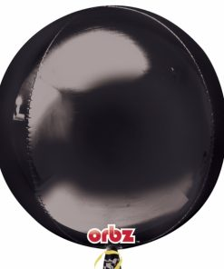 "3 Plain Black 16"" Orbz Helium Filled Foil Balloons"