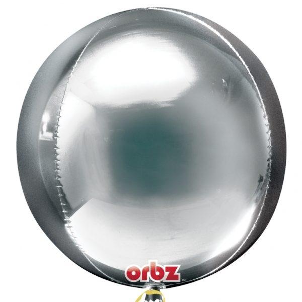 "3 Plain silver 16"" Orbz  Helium Filled Foil Balloonss"