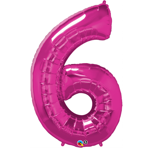 Pink 6 Foil number shape Helium Filled Balloon