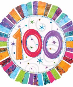 "Radiant Birthday 100th Birthday 18"" Helium Filled Foil Balloon"
