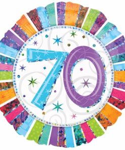 "Radiant Birthday 70th Birthday 18"" Helium Filled Foil Balloon"