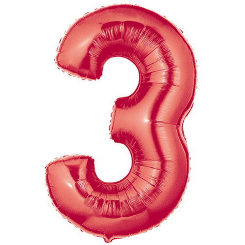 Red number 3 foil balloon.