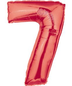 Red number 7 foil balloon.