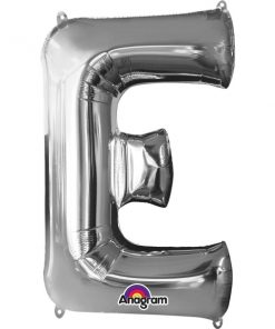 Silver Supershape Letter E Helium Filled Foil Balloon