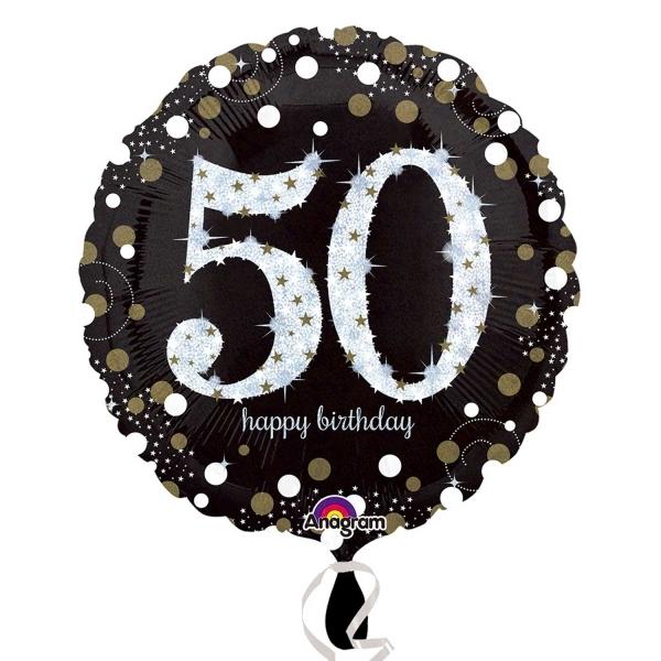"Sparkling Celebration Black & gold 50th Birthday 18"" Helium Filled Foil Balloon"