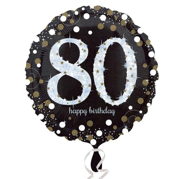 "Sparkling Celebration Black & gold 80th Birthday 18"" Helium Filled Foil Balloon"