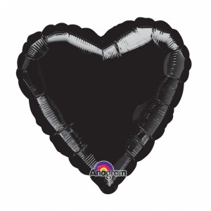 Metallic Black heart Helium Filled Foil Balloon