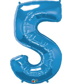 Blue foil 5 balloon.