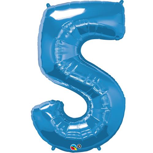 Blue foil 5 balloon.