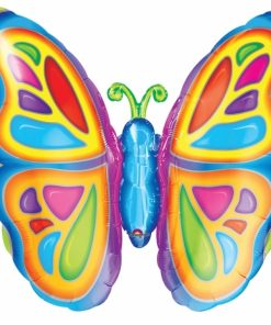 Bright Butterfly Supershape Helium Filled Foil Balloon