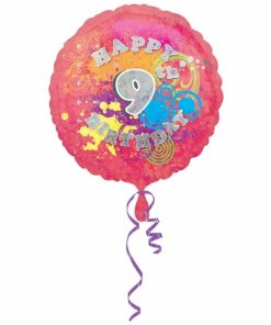 "Cool Kidz 9th Birthday 18"" Helium Filled Foil Balloon"