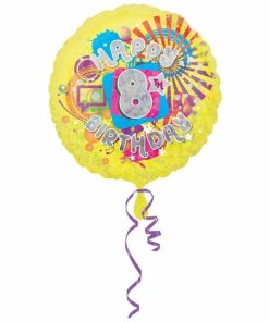 "Cool Kidz 8th Birthday 18"" Helium Filled Foil Balloon"