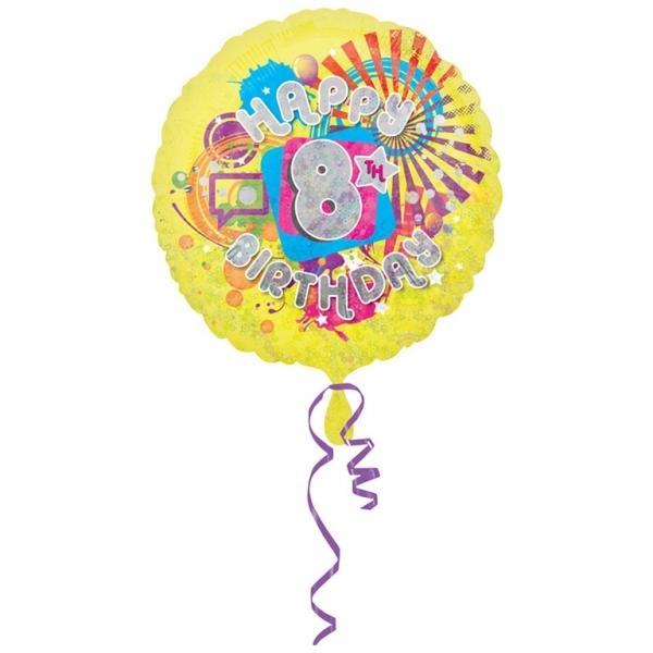 "Cool Kidz 8th Birthday 18"" Helium Filled Foil Balloon"