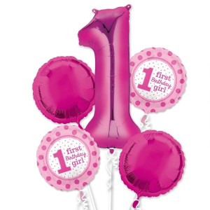 helium filled 1st birthday girl bouquet Foil Balloons