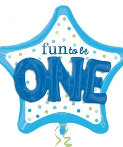 helium filled fun to be O-N-E boy Foil Balloon