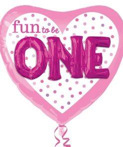helium filled fun to be O-N-E girl Foil Balloon