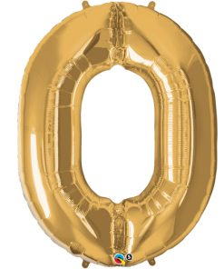 Gold foil 0 balloon.