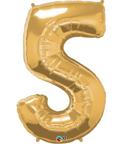 Gold #5 Foil number shape Helium Filled Balloon