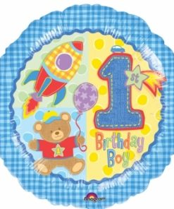 Helium filled hugs and stitches 1st birthday boy Foil Balloon