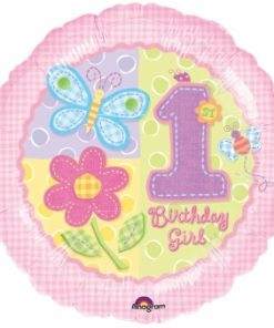Helium filled hugs and stitches 1st birthday girl Foil Balloon