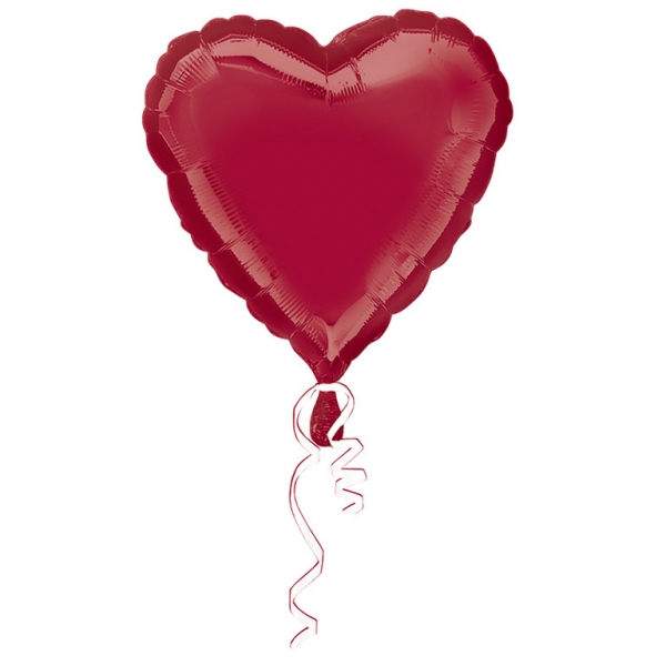 Metallic Burgundy Heart Helium Filled Foil Balloon