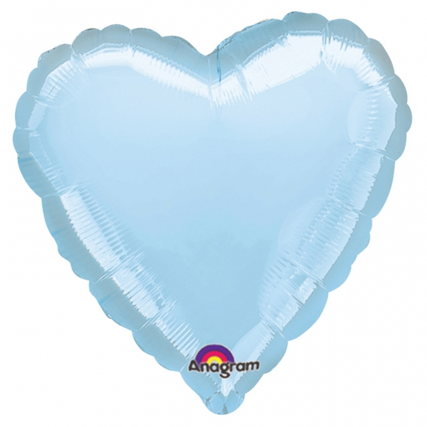 Metallic Pastel Blue Helium Filled heart Foil Balloon