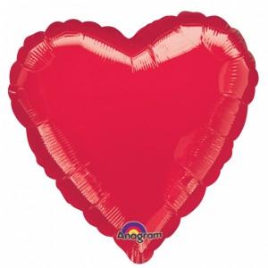 Metallic Red heart Helium Filled Foil Balloon