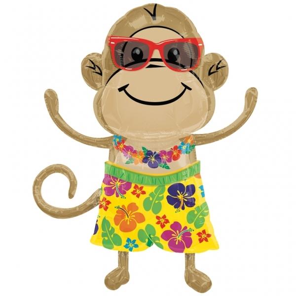 Monkey luau boy Supershape Helium Filled Foil Balloon