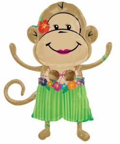 Monkey luau girl Supershape Helium Filled Foil Balloon