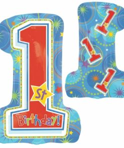 helium filled one-derful birthday boy supershape Foil Balloon