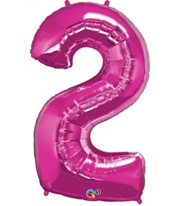 Pink 2 Foil number shape Helium Filled Balloon