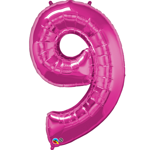Pink #9 Foil number shape Helium Filled Balloon