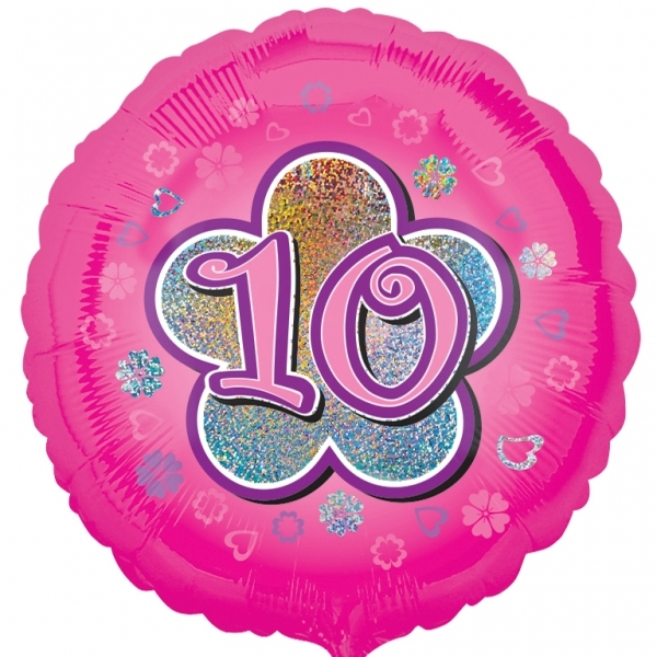 "Pink Flowers 10th Birthday 18""  Helium filled Foil Balloon"