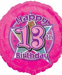 """Pink Flowers 13th Birthday 18""""  Helium filled Foil Balloon"""